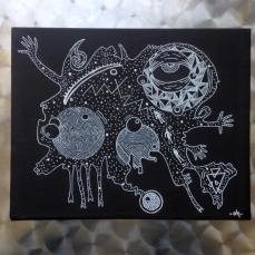 Dark Matter © // 2015 // 26x20cm // posca and plastic figures on black canvas